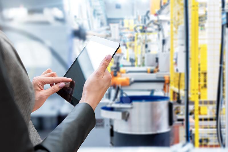 Woman & Tablet & Robotic smart machines